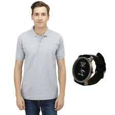 Haltung Mens Slim Fit Grey Polo Tshirt With Free Watch (HAL-M-GREY-TSHIRT-WATCH)