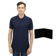 Haltung Men's Navy Polo T-Shirt With Free Wallet (HAL-M-NAVY-TSHIRT-WALLET)