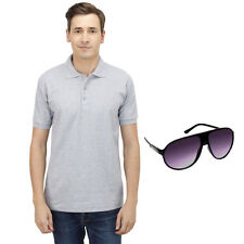 Haltung Men Grey Polo Tshirt With Free Sunglasses (HAL-M-GREY-TSHIRT-SUNGLASSES)