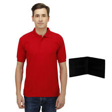 Haltung Mens Slim Fit Red Polo Tshirt With Free Wallet (HAL-M-RED-TSHIRT-WALLET)