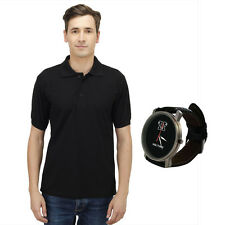 Haltung Men's Black Polo T-Shirt With Free Watch (HAL-M-BLACK-TSHIRT-WATCH)