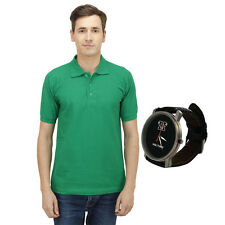 Haltung Men's Green Polo T-Shirt With Free Watch (HAL-M-GREEN-TSHIRT-WATCH)