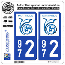 2 Stickers autocollant plaque immatriculation : 972 Martinique LogoType