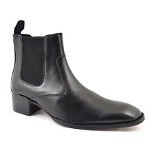 Gucinari Ringo Black Leather Men'S Chelsea Boots Heel Round Toe Ankle Boot