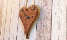 Wooden Heart Hanging Wall Clock Shabby Chic Rustic Vintage Style