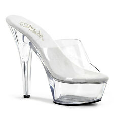 PLEASER KISS-201 CLEAR PLATFORM POLE DANCING STILETTO HEEL MULES SHOES