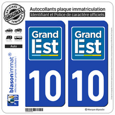 2 Stickers autocollant plaque immatriculation : 10 Grand Est LogoType