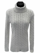 NEW LADIES LONG SLEEVE QUALITY CABLE KNITTED POLO NECK JUMPER TOP