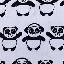 Funky Panda White Fabric Material Poly Cotton 115cm sold by the metre