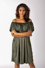 NEW LADIES WOMENS OFF SHOULDER OVERLAY VELVET SUEDE LOOK FRILL DRESS