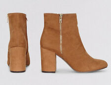 WOMENS PLUS SIZE 8 41 WIDE FIT NEW LOOK TAN FAUX SUEDE MID HIGH HEEL ANKLE BOOTS