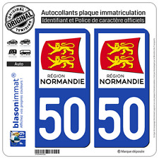 2 Stickers autocollant plaque immatriculation : 50 Normandie LogoType