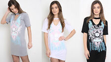 New Top Ladies Choker Neck Dress Women Skull Shirt Ride or Die Print Black 8-14