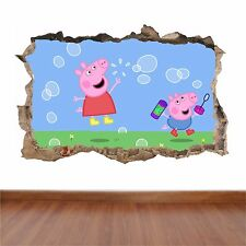 Pepper Pig hole in the wall full colour sticker decal kids