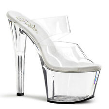 PLEASER SKY-302 CLEAR 2 BAND PLATFORM POLE DANCING STILETTO HEEL SHOES MULES