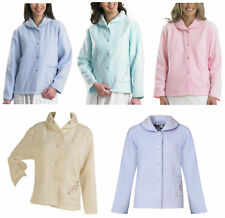 Womens Polar Fleece Bed Jacket Slenderella Button Up Floral Embroidery Housecoat