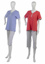 Womens Cotton Summer Pyjamas Ladies Short Sleeve Top & 3/4 Polka Dot Bottoms PJs