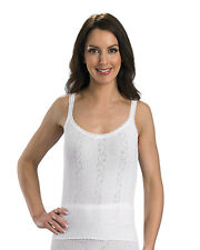 Slenderella Ladies 100% Cotton French Neck Camisole Lace Detail Tank Top Cami