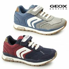 GEOX JR PAVEL Boys Sport Breathable Synthetic Leather Mesh Touch Fasten Trainers