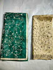Fancy Designer Women Silk Embroidered Dupatta Scarf Stole Wrap Green & Fawn