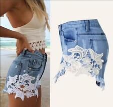 2017 Sexy Style Lace Women Denim Jeans Short Ladies Trousers Girls Pant S M L XL