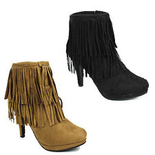 WOMENS LADIES PLATFORM STILETTO HEEL ZIP UP TASSLE ANKLE BOOTS SHOES SIZE 3-8