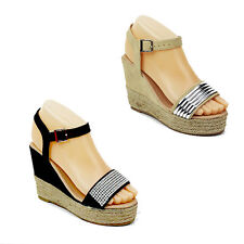 WOMENS LADIES PLATFORM WEDGE HEEL ANKLE STRAP SANDALS ESPADRILLES SHOES SIZE 3-8