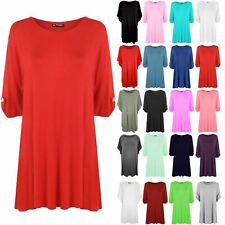 Womens Plain Short Turn Up Sleeve Plus Size Button Ladies Tee Shirt Stretch Top