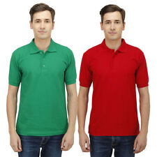 Haltung Men Slim Fit Green Red T-shirts Combo Of 2 (HAL-2CM-M-TSHIRT-GREEN-RED)