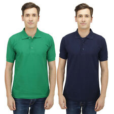 Haltung Men Slim Fit Green Navy T-shirts Combo Of 2 -HAL-2CM-M-TSHIRT-GREEN-NAVY