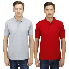 Haltung Men's Slim Fit Grey Red T-shirts Combo Of 2 (HAL-2CM-M-TSHIRT-GREY-RED)