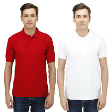 Haltung Men Slim Fit Red White T-shirts Combo Of 2 (HAL-2CM-M-TSHIRT-RED-WHITE)