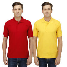 Haltung Men Slim Fit Red Yellow T-shirts Combo Of 2 -HAL-2CM-M-TSHIRT-RED-YELLOW