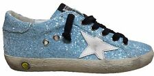 GOLDEN GOOSE DELUXE BRAND SNEAKERS SUPERSTAR A15 LOLLIPOP GLITTER CELESTE