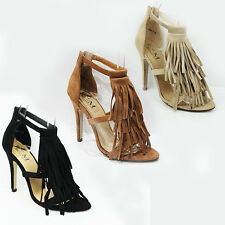 WOMENS LADIES STRAPPY HIGH HEELS OPEN TOE TASSLE ANKLE SANDALS SHOES SIZE 3-8