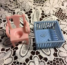 Vintage Dollhouse Furniture Miniature Superior Crib & Pink Potty Chair DF-4