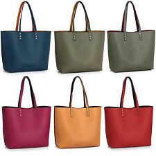 Reversible Ladies Grab Women Shoulder Bag Faux Leather Hobo Vintage Handbag Tote