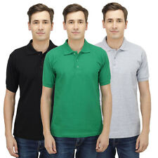 Haltung Men Polo Slim Fit Combo Of 3 T-Shirt (HAL-3CM-M-TSHIRT-BLACK-GREEN-GREY)