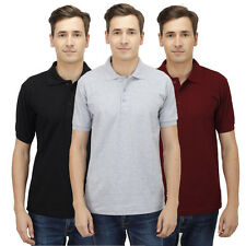 Haltung Polo Slim Fit Combo Of 3 T-Shirt (HAL-3CM-M-TSHIRT-BLACK-GREY-MAROON)