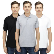 Haltung Men Polo Slim Fit Combo Of 3 T-Shirt (HAL-3CM-M-TSHIRT-BLACK-GREY-WHITE)