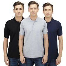 Haltung Mens Polo Slim Fit Combo Of 3 T-Shirt (HAL-3CM-M-TSHIRT-BLACK-GREY-NAVY)
