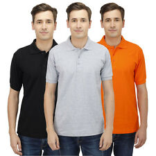 Haltung Men Polo Slim Fit Combo Of 3 TShirt (HAL-3CM-M-TSHIRT-BLACK-GREY-ORANGE)
