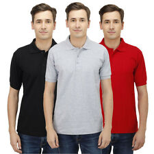 Haltung Men's Polo Slim Fit Combo Of 3 T-Shirt (HAL-3CM-M-TSHIRT-BLACK-GREY-RED)