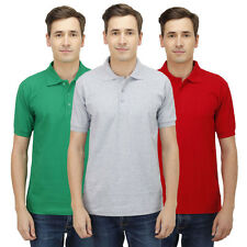 Haltung Mens Slim Fit Polo Combo Of 3 T-Shirts (HAL-3CM-M-TSHIRT-GREEN-GREY-RED)