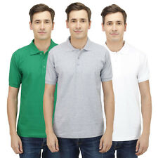 Haltung Men Slim Fit Polo Combo Of 3 T-Shirt (HAL-3CM-M-TSHIRT-GREEN-GREY-WHITE)