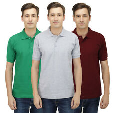 Haltung Slim Fit Polo Combo Of 3 T-Shirts (HAL-3CM-M-TSHIRT-GREEN-GREY-MAROON)