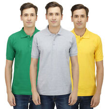 Haltung Slim Fit Polo Combo Of 3 T-Shirts (HAL-3CM-M-TSHIRT-GREEN-GREY-YELLOW)