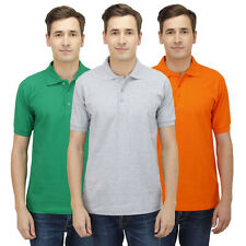 Haltung Slim Fit Polo Combo Of 3 T-Shirts (HAL-3CM-M-TSHIRT-GREEN-GREY-ORANGE)