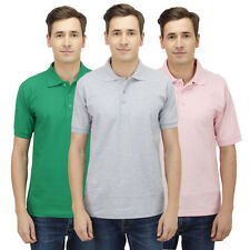 Haltung Men Slim Fit Polo Combo Of 3 T-Shirts (HAL-3CM-M-TSHIRT-GREEN-GREY-PINK)