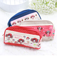 B446 girl canvas big capacity Students stationery pen bag pencil bags